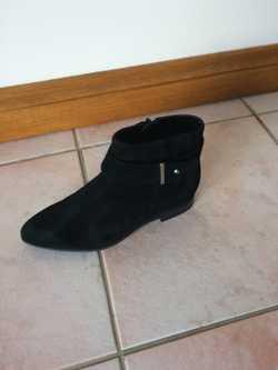 Nine West, Black suede, size 6,  flat 1.5cm heel, side zip fastening, secure man-made sole for safet...