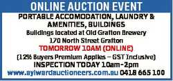 ONLINE AUCTION EVENT PORTABLE ACCOMODATION, LAUNDRY & AMENITIES, BUILDINGS Buildings located at...