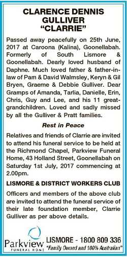 "CLARENCE DENNIS GULLIVER ""CLARRIE"" Passed away peacefully on 25th June, 2017 at Caroona (K..."