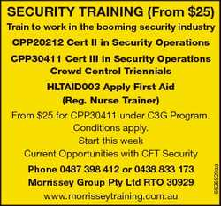 SECURITY TRAINING (From $25) Train to work in the booming security industry CPP20212 Cert II in Secu...