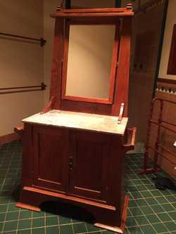 unique, marble top, new mirror, one shelf inside. 46cm(w) x 92cm(L) x 165cm(H)