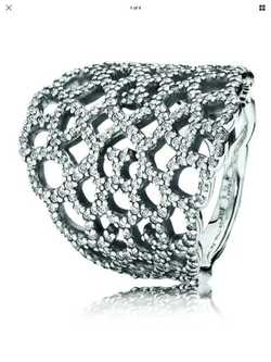 Shimmering Lace Silver & Zirconia Ring 190907CZ Size 52