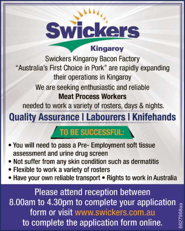 "Swickers Kingaroy Bacon Factory ""Australia's First Choice in Pork"" are rapidly ex..."