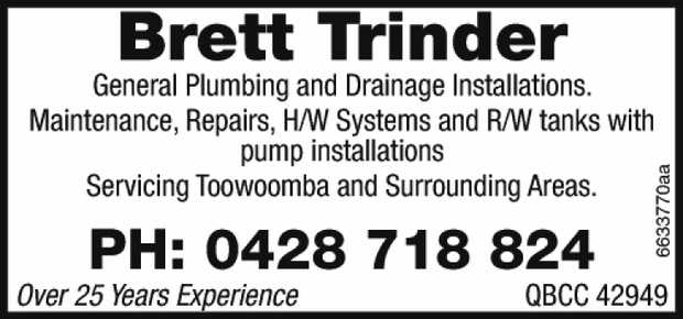 General Plumbing and Drainage Installations. Maintenance, Repairs, H/W Systems and R/W tanks...