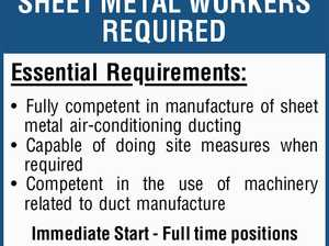 SHEET METAL WORKERS REQUIRED