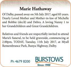 Marie Hathaway   Of Dalby, passed away on 5th July 2017, aged 83 years.   De...