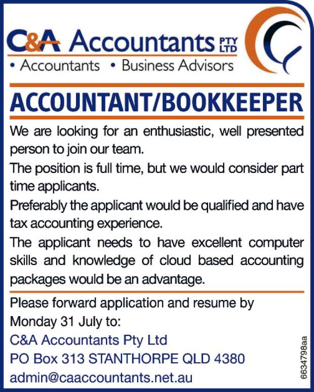 ACCOUNTANT/BOOKKEEPER