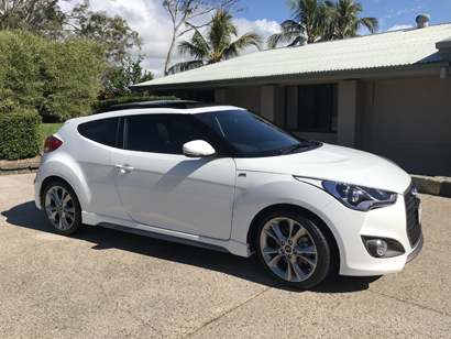 HYUNDAI Veloster SR Turbo, pearl white, 8 speed automatic, purchased new in March 2016, 21,713ks,...