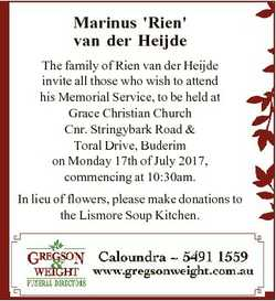Marinus 'Rien' van der Heijde The family of Rien van der Heijde invite all those who wish to...