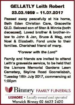 GELLATLY Leith Robert 23.03.1959 - 11.07.2017 Passed away peacefully at his home, Beth Eden Christia...
