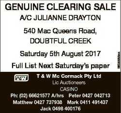 A/C JULIANNE DRAYTON Saturday 5th August 2017 Full List Next Saturday's paper T & W...
