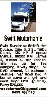 Swift Motorhome Swift Sundance 624FB Fiat Ducato, Euro 5, 2.3L Turbo Diesel, 130 HP, 6 speed Manual,...