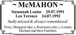 ~ McMAHON ~   Susannah Louise   29.07.1991   Leo Terence   24.07.1992   Sadly...