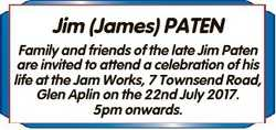 Jim (James) PATEN Family and friends of the late Jim Paten are invited to attend a celebration of hi...