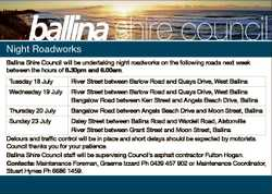 Night Roadworks Ballina Shire Council will be undertaking night roadworks on the following roads nex...