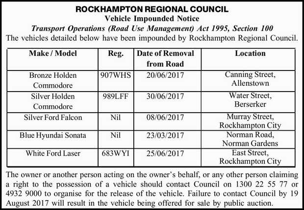 Vehicle Impounded Notice Transport Operations (Road Use Management) Act 1995, Section 100 The veh...