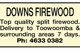 DOWNS FIREWOOD Top quality split firewood. Delivery to Toowoomba & surrounding areas 7 days.