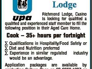 Richmond Lodge Richmond Lodge, Casino is looking for qualified a qualified and experienced staff member to fill the following position in their Aged Care Home. Cook - 35+ hours per fortnight  Qualifications in Hospitality/Food Safety or  Diet and Nutrition preferred  Experience in similar regulated industry would be an advantage. Application ...