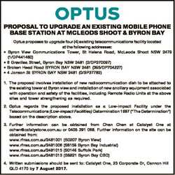 PROPOSAL TO UPGRADE AN EXISTING MOBILE PHONE BASE STATION AT MCLEODS SHOOT & BYRON BAY * * * * O...