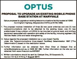 PROPOSAL TO UPGRADE AN EXISTING MOBILE PHONE BASE STATION AT MARYVALE Optus proposes to upgrade an e...