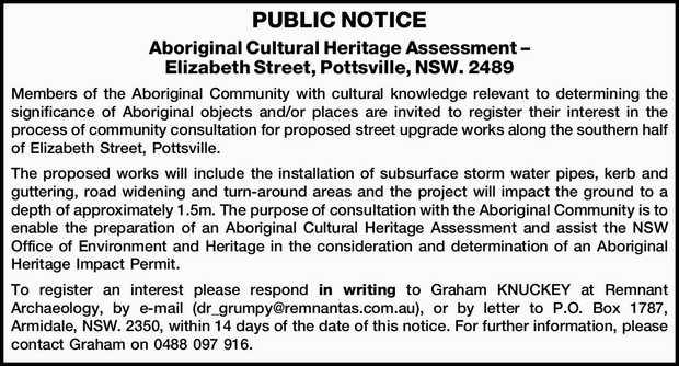 PUBLIC NOTICE Aboriginal Cultural Heritage Assessment – Elizabeth Street, Pottsville, NSW....