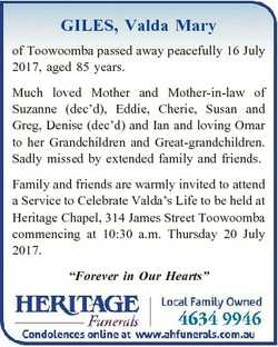 GILES, Valda Mary of Toowoomba passed away peacefully 16 July 2017, aged 85 years. Much loved Mother...