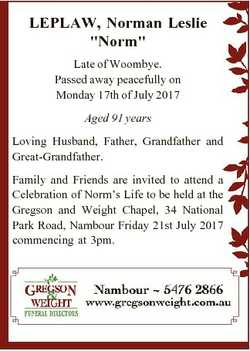 "LEPLAW, Norman Leslie ""Norm"" Late of Woombye. Passed away peacefully on Monday 17th of Jul..."