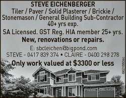 STEVE EICHENBERGER Tiler / Paver / Solid Plasterer / Brickie / Stonemason / General Building Sub-Con...