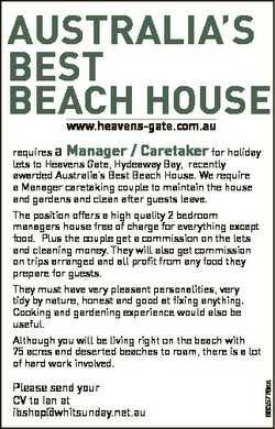 AustrAliA's Best BeACh house www.heavens-gate.com.au requires a Manager / Caretaker for holiday...
