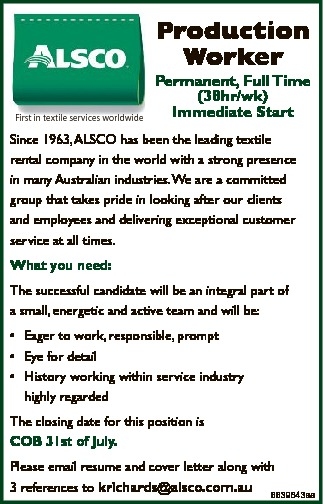 Production Worker Permanent, Full Time (38hr/wk) Immediate Start   Since 1963, ALSC...