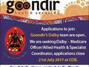 Applications to join Goondir's Dalby team are open. We are seeking:Dalby - Medicare Officer/Allied Health & Specialist Coordinator, applications close 21st July 2017 at COB. For details please contact Jodie Bond, HR Manager on 07 4679 5900 or email j.bond@goondir.org.au 6640799aa