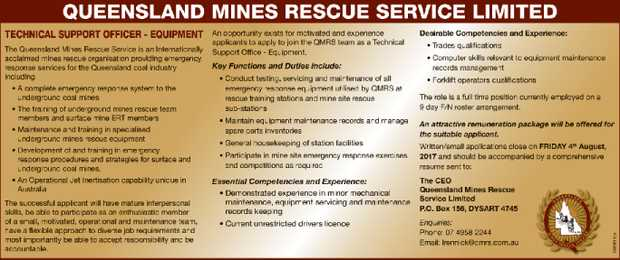TECHNICAL SUPPORT OFFICER - EQUIPMENT