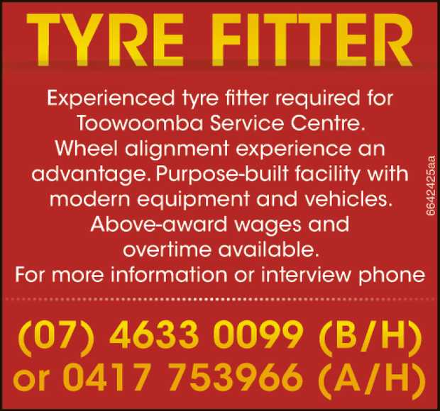 Experienced truck/car tyre fitter with car licence required for Toowoomba Service Centre. Wheel a...