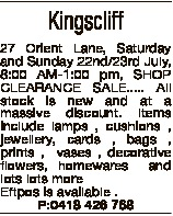 Kingscliff 27 Orient Lane, Saturday and Sunday 22nd/23rd July, 8:00 AM-1:00 pm, SHOP CLEARANCE SALE....