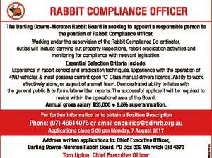 RABBIT COMPLIANCE OFFICER The Darling Downs-Moreton Rabbit Board is seeking to appoint a responsible person to the position of Rabbit Compliance Officer. Working under the supervision of the Rabbit Compliance Co-ordinator, duties will include carrying out property inspections, rabbit eradication activities and monitoring for compliance with relevant legislation. Essential Selection ...