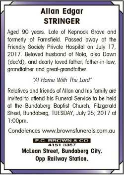 Allan Edgar STRINGER Aged 90 years. Late of Kepnock Grove and formerly of Farnsfield. Passed away at...