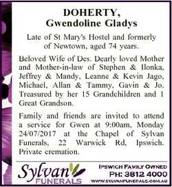 DOHERTY, Gwendoline Gladys Late of St Mary's Hostel and formerly of Newtown, aged 74 years. Belo...