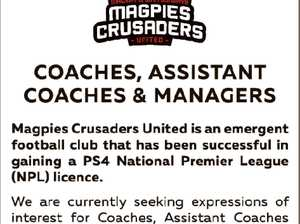 Magpies Crusaders United is an emergent football club that has been successful in gaining a PS4 National Premier League (NPL) Licence.   We are currently seeking expressions of interest for Coaches, Assistant Coaches and Managers for U/13, U/14, U/15, U/16, U/18 and U/20 teams for ...
