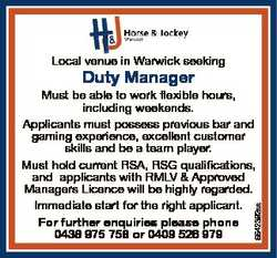 Local venue in Warwick seeking Duty Manager 6642392aa Must be able to work flexible hours, including...