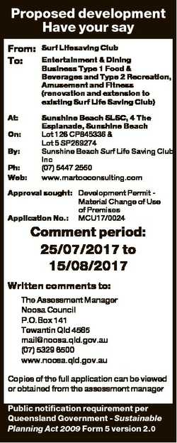 Proposed development Have your say From: To: At: On: By: Ph: Web: Surf Lifesaving Club Entertainment...