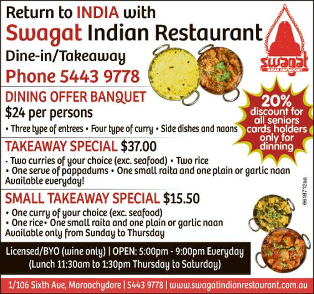 Welcome to Swagat Indian Resturant