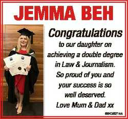 JEMMA BEH Congratulations to our daughter on achieving a double degree in Law & Journalism. So p...
