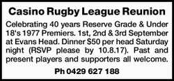 Celebrating 40 years   Reserve Grade & Under 18's 1977 Premiers.   1st, 2nd &...