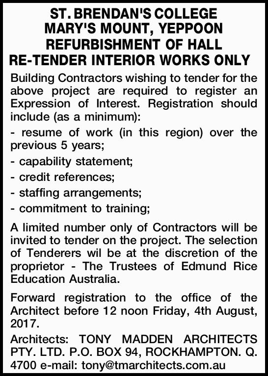 Building Contractors wishing to tender for the above project are required to register an Ex...