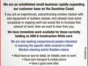 Window Cleaners and Builders Cleaners wanted.