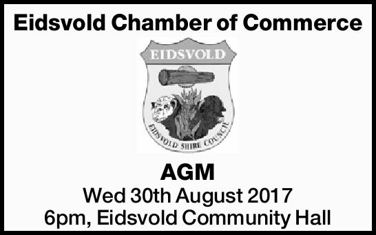 Eidsvold Chamber of Commerce AGM Wed 30th August 2017 6pm, Eidsvold Community Hall