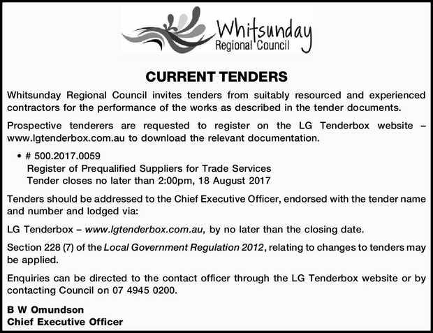 CURRENT TENDERS Whitsunday Regional Council invites tenders from suitably resourced and experienc...