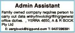 Admin Assistant Family owned company requires person to carry out data entry/invoicing/filing/genera...