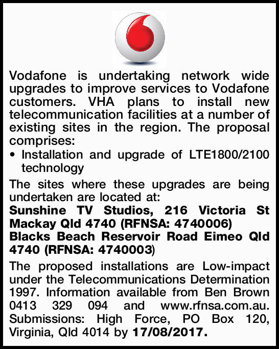 Vodafone is undertaking network wide upgrades to improve services to Vodafone customers. VHA plan...