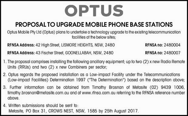 PROPOSAL TO UPGRADE MOBILE PHONE BASE STATION Optus Mobile Pty Ltd (Optus) plans to upgrade the e...